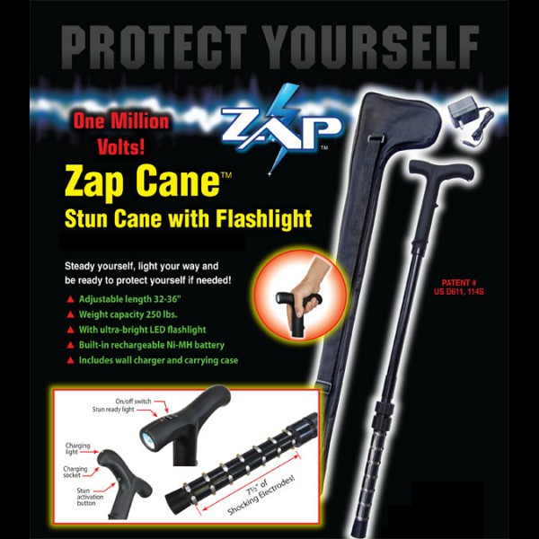 Zap Cane 1 000 000 Volts Stun Gun With Flashlight Stunguns